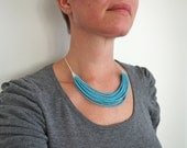 Turquoise statement necklace layered bib necklace small glass beads multi stranded elegant