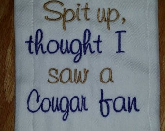 Excuse the Spit up - University of Washington or your favorite team Monogrammed Baby Burp Cloth