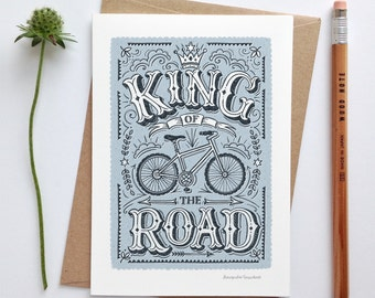 King of the Road Card | Cycling Card | Men's Cycling Card | Men's Bike Card | Luxury Greetings Card | Fine Art Card