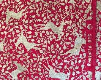 Christmas Reindeer Fabric Yardage Red and Gold