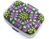 2 Compartment Polymer Clay Covered Pill Box, Pill Case,  Kaleidoscope Pattern