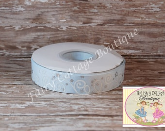 Ice Blue with White Swirls and Silver Stars 7/8 inch Ribbon
