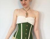 Woodland Steampunk Wedding- Underbust Corset, steel boned, custom made, olive green silk