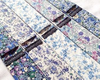 Wedding Set of 5 Blue Floral Men's Ties, Groomsmen Ties, Mismatched Wedding Ties