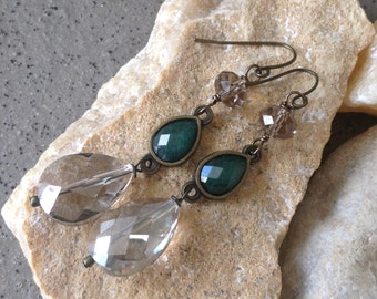 Crystal Antiqued Brass Earrings