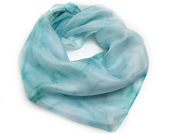 Silk Neckerchief in teal and aqua