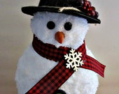 Rustic Snowman Figurine - Tabletop Winter Christmas Decoration Holiday - Plaid Scarf, Black Hat, Buttons and Carrot Nose - Gift Idea