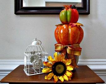 Pumpkin Topiary - Halloween, Thanksgiving, Fall Autumn Decor - Burlap and Plaid