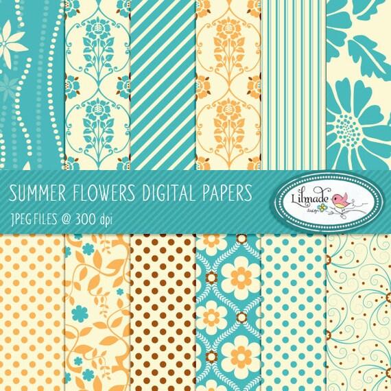 Digital papers, digital scrapbook paper, patterned scrapbook paper, floral digital paper, commercial use, P68