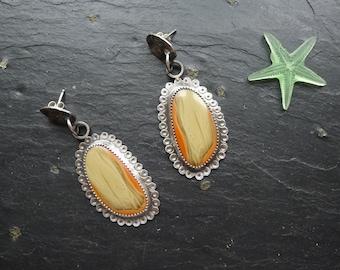 IMPERIAL JASPER EARRINGS, long earrings, oxidized silver, boho design, autumn earrings