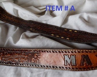 Choose Or Pick One ... Vintage Worn Leather Mens name Max Casey Stewart Marty Don Western Embossed Belts BB114