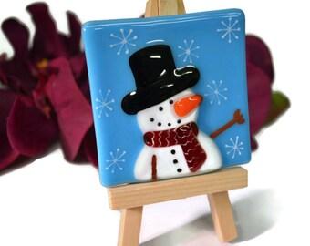 Snowman Selfie Christmas Decor, Snowman Face, Fused Glass, Mini Photo, Snowman Decor, Snowman Picture