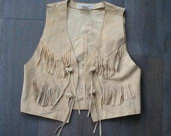 Vintage BLONDE Leather FRINGE BOHO Southwest Vest (m-l)