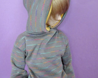 Gray Rainbow Stripe Hoodie for MSD SD+ Ball Jointed Doll