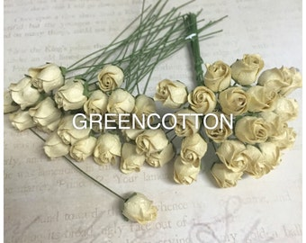 20 Cream Color Mulberry Paper Rose buds flowers code  Cream-Rosebuds