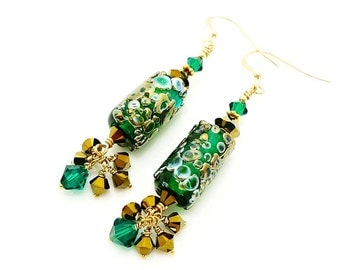 Green Earrings, Lampwork Earrings, Dangle Earrings, Beadwork Earrings, Cluster Earrings, Glass Beads Earrings, Gold Filled Earrings