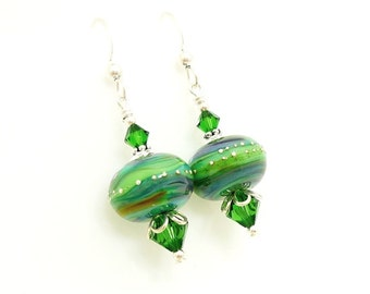 Green Earrings, Lampwork Earrings, Glass Earrings, Glass Bead Earrings, Beadwork Earrings, Glass Art Earrings, Unique Earrings