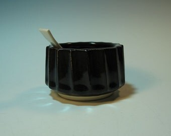 Black Fluted Salt Bowl / Pig / Cellar with Handmade Spoon - In Stock