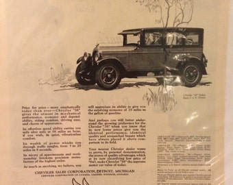 Circa 1926 Chrysler 58 ad.