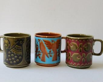 Vintage Mid Century Modern Collectible Hornsea Mug, John Clappison, Bird