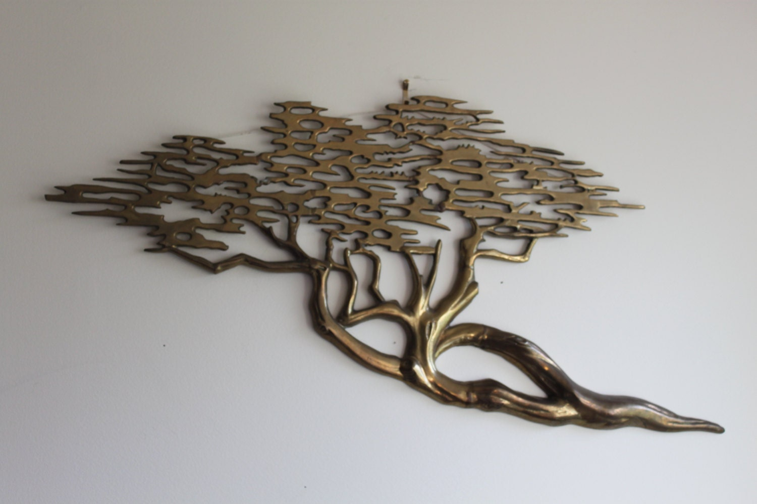 Oriental Metal Wall Decor : Vintage mid century modern metal wall art brass tree asian