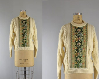 1970s tapestry sweater / Aran Fisherman style pullover sweater with tapestry inset