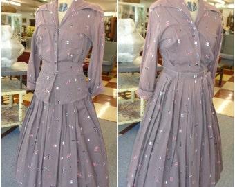 Vintage 1950s Cute Brown Novelty Oval Dot Print Shaggy Bark Skirt and Blouse set