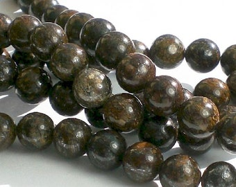 Round Bronzite Beads 8mm Brown Beads Large Hole Beads 8 in. Strand