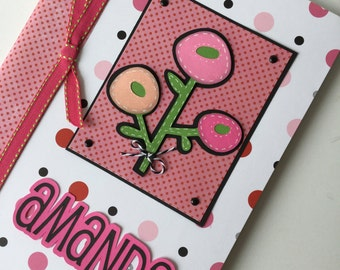 PERSONALIZED Composition Book - pink pompom flowers