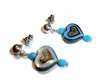 Jewelry, Earrings, Czech Glass Hearts , Turquoise and Black with Turquoise Crystals, Ear Wires, Posts, Harp. Lever Backs