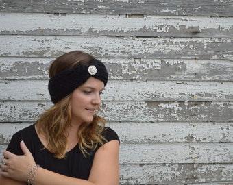 Crochet Earwarmer. Black Knit Earwarmer. Fall Earwarmer. Winter Turban. Knit Turban. Vintage Headband. Christmas for Her. Made to Order.