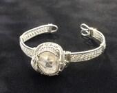 Raw Crystal Quartz Silver Wire Weave Bracelet, Payson, Lemurian Diamond