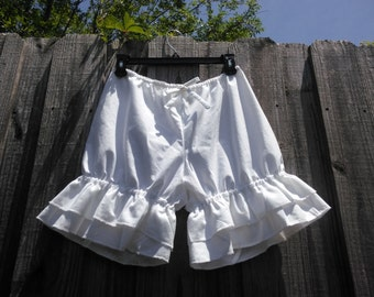White bloomers with double wide ruffles