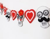 Day of the Dead Wedding Sugar Skull Garland Bride and Groom