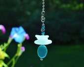 Genuine Sea Glass Ceiling Fan Light Pull Suncatcher Frosty Seafoam Stack 508 Free Shipping Lamp Pull Beaded Pull Unique Gift Sun Catcher