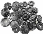 Vintage BLACK Art Deco Large Size Lumpy Chunky Plastics Coat Sweater Sewing Buttons Fashion Embellishments BIG Lot Collection