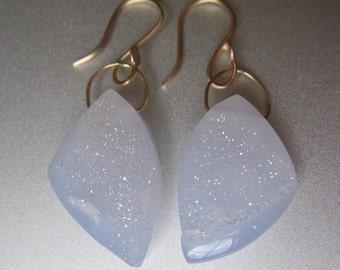 Blue Chalcedony Drusy Drops Solid 14k Gold Earrings