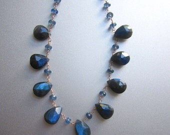 Blue Labradorite and Sapphire Solid 14k Rose Gold Necklace
