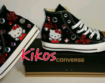 Kitty Glitter Converse with 3D Butterfly Women Size