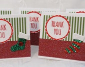 Holiday Mini Thank You Cards Green and White Stripes with Stockings 20