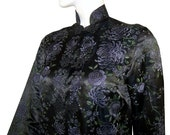 RARE antique Vintage Chinese Asian Heavily Hand Embroidered Silk Ladies Jacket Coat Purple Chrysanthemum