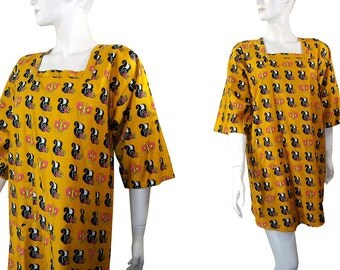 Vintage 60s Pappagallo Skunk & Butterfly Novelty Print Mini Dress, Groovy Flower Power Tunic Smock, Never Worn