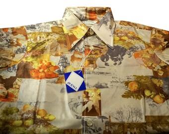 Vintage Oleg Cassini 70s Men's Disco Shirt Renoir, Manet, Rembrandt Size Medium Deadstock Never Worn Famous Works of Art