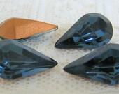 13x8 Pear Swarovski Rhinestone Montana Blue Teardrop Shape Qty 4