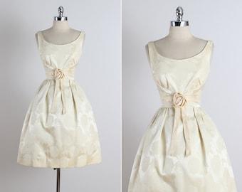 Golden Days .  vintage 1950s dress . vintage party dress . 5304