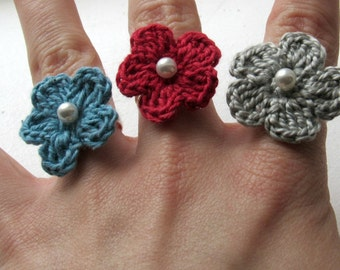 Crochet Flower Ring, Spring, Silver Adjustable Band, Unique, Spring  Apparel, Summer, Blue, Red, Silver, Cotton, Spring Forward, Easter