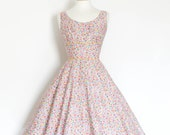 Pink and Blue Ditsy Floral Cotton, Low Back Scoop Neck with Circle Skirt