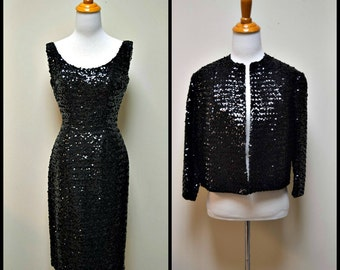 Vintage 50s/60s Black Sequin Wiggle Dress & Open Front Jacket Size S EUC