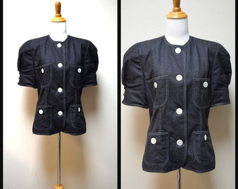 VINTAGE ALBERT NIPON Black Cotton Denim Hip Length Jacket w Pearl Buttons Size 8