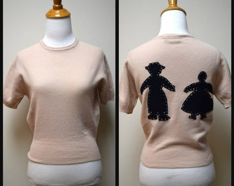 VINTAGE Camel Beige Short Sleeved Upcycled Hand Appliqued Sweater Primitive Amish Man Woman SZ S
